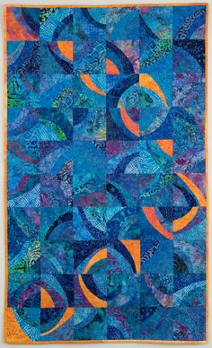 Blue and Orange Quilted Wall Hanging  Cosmos by cindygrisdela, $1250.00