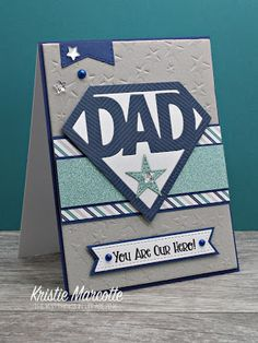 Dad Shaker Card For Father's Day, Kristie Marcotte, How to make fun shaker cards for guys! Since I recently used Queen & Company's Mother's Day kit , I just HAD to use their new Father's Day shaped shaker kit . Fathers Day Cards Handmade, Fathers Day Crafts, Mothers Day Cards, Handmade Birthday Cards, Cards For Dads, Father Birthday, Dad Birthday Card, Birthday Cards For Men, Girlfriend Birthday