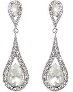 Fashion EVER FAITH Wedding Silver-Tone Art Deco Teardrop Austrian Crystal Clear Dangle Earrings