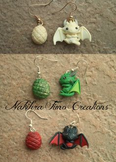 Handmade Daenerys's Dragons Earrings Polymer Clay