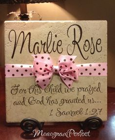 Personalized Adoption Gift or Baby Shower Vinyl Art Decorative Tile - Blakely Baby Name - Ideas of Blakely Baby Name - DIY tile Cricut Vinyl, Vinyl Art, Vinyl On Tile, Vinyl Projects, Craft Projects, Tile Projects, Circuit Projects, Homemade Gifts, Diy Gifts