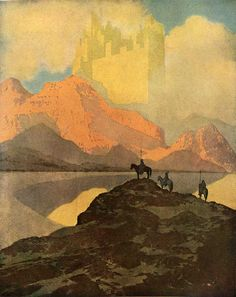 """illustration """"City of Brass"""" by Maxfield Parrish for Arabian Nights (published 1909)."""