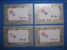 Pink & silver Thank You cards - Han-crafted (c)