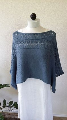 This garment was designed to be a cropped topper poncho with the option of wearing the lace across the shoulders, or turned and worn as a v-neck poncho. It is seamless with self finished edges. Knitted Poncho, Knitted Shawls, Hand Knitting, Knitting Patterns, Shawls And Wraps, Pattern Fashion, Knitwear, Knit Crochet, Pullover