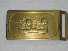 """Rare """"A.J. Foyt Enterprises"""" COYOTE Belt Buckle One Piece Stamped Solid Brass"""
