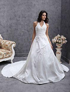 A-line Halter Chapel Train Taffeta Wedding Dress  – GBP £ 208.79