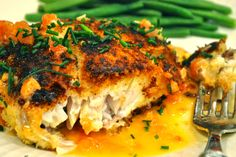 pan-fried striped bass with tomato butter. served with steamed snap peas and pesto potatoes. Fish Dishes, Seafood Dishes, Fish And Seafood, Fish Recipes, Seafood Recipes, Cooking Recipes, Yummy Recipes, Dinner Recipes, Gratin