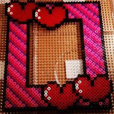 Love photo frame hama beads by annekboe