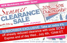 Summer Clearance Sale! New markdowns on over 2,400 items for #beading and #DIY #jewelry making.  Exclusive 4th of July savings: take an extra 4% off already reduced clearance with code SC4J at checkout. Expires end of day, Wednesday, July 4, at 12AM ET.