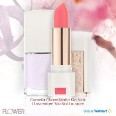 These two make the perfect pair:  With its pure, intense color, FLOWER Matte Kiss Stick in Camelia Charm has an ultra-smooth finish.  Long-lasting FLOWER Nail'd It Nail Lacquer in  I Lavendare You! has a built-in top coat.  Only at Walmart.