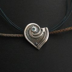Metal Clay, Heart Jewelry, Blue Topaz, Polymer Clay, Pendant Necklace, Drop Necklace, Modeling Dough
