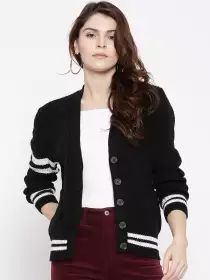 FOREVER 21 Women Black Ribbed Cardigan