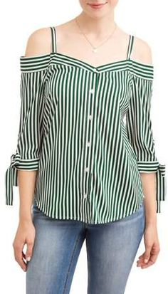 MILLENIUM Women's Stripe Off the Shoulder Tie Sleeve Top Look Fashion, Trendy Fashion, Womens Fashion, Blouse Styles, Blouse Designs, Classy Outfits, Casual Outfits, Summer Outfits Women, African Fashion