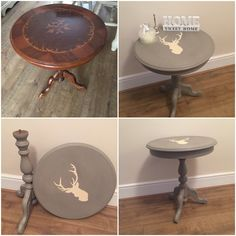 My £5 car boot bargain turned out to be an amazing find!! I painted the entire table in two coats of Annie Sloan French Linen and sourced a stag's head stencil from eBay and painted the stags head up in Annie Sloan Old Ochre finishing off with two coats of clear wax