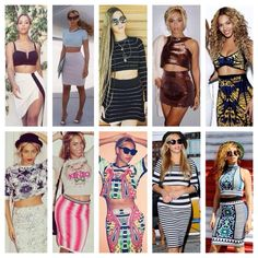 Beyonce in crop tops and high waisted skirt