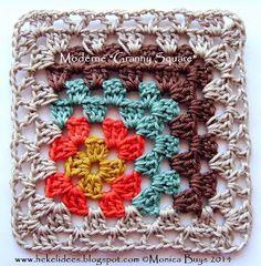 "Ideas Crochet: Crochet Patrón y Tutorial: Modern ""Granny Square"". Crochet Square Pattern, Crochet Motif Patterns, Crochet Blocks, Square Patterns, Crochet Squares, Crochet Granny, Love Crochet, Crochet Designs, Knit Crochet"