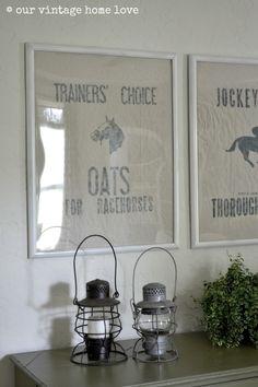 our vintage home love: DIY Vintage Equestrian Feed Sack.gotta try to make this for Saddlebreds! Equestrian Decor, Equestrian Style, Equestrian Bedroom, Fixer Upper, Vintage Horse, Vintage Décor, Vintage Stuff, Feed Bags, Horse Crafts