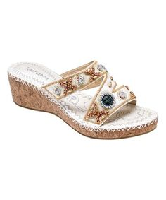 Look what I found on #zulily! White Embroidered Wedge Sandal #zulilyfinds