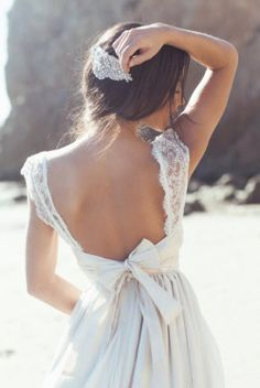 lace, bare back, and bow