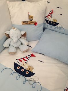 Bebek uyku seti Baby Boy Bedding Sets, Baby Crib Bedding, Baby Pillows, Baby Bedroom, Baby Patchwork Quilt, Baby Quilts, Nautical Baby Nursery, Baby Sewing Tutorials, Sailor Baby