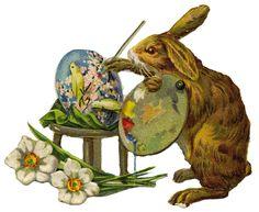 La Bande des Faineantes- Easter - Vintage Printable  artist painting card  rabbit