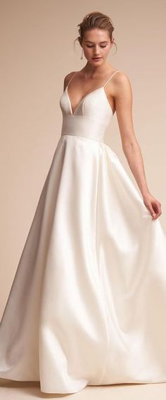 Glamorous Satin Spaghetti Straps Neckline A-Line Wedding Dresses With Pockets