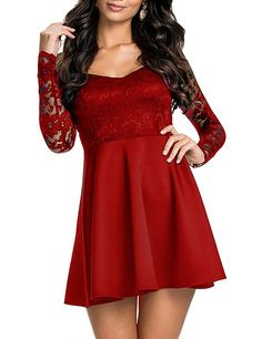 NuoReel Women's Lace Bodice Skater Dress (Small, Bright Red)