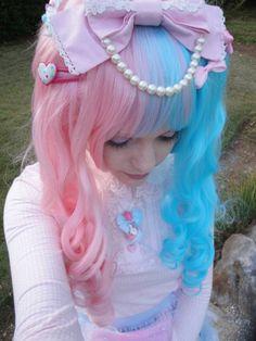 Cotton candy hair, hair color, multi-colored hair, pink hair, pink, teal hair, teal
