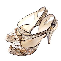 MIU MIU Silver glitter rhinestone heels