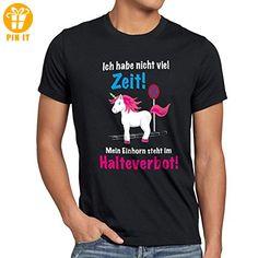 style3 Keine Zeit Einhorn im Halteverbot Herren T-Shirt Mein Unicorn steht Parken Spruch, Größe:XL;Farbe:Schwarz - T-Shirts mit Spruch   Lustige und coole T-Shirts   Funny T-Shirts (*Partner-Link)