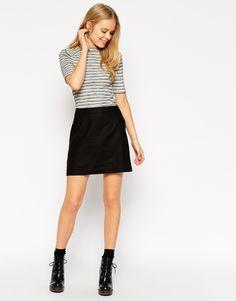 Image 1 of ASOS A-Line Linen Mini Skirt