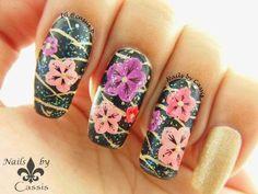 Cherry Blossom Mani with MoYou London Plates #nails #nailart #nailstamping #moyoulondon