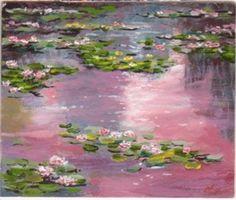 """Claude Monet, Ninfee rosa, 1898. Olio su tela. Roma, Galleria Nazionale d'Arte Moderna. """"L'elemento base è lo specchio d'acqua il cui aspetto muta ogni istante per come brandelli di cielo vi si riflettono conferendogli vita e movimento. [..] l'acqua, essendo un soggetto così mobile e in continuo mutamento, è un vero problema."""" Claude Monet, dalle pagine del suo diario"""