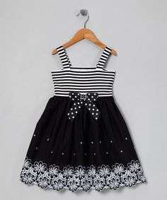 Take a look at this Black Stripe Floral Embroidered Sundress - Toddler & Girls by Sweet Heart Rose on #zulily today!
