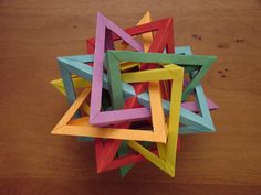 """All 6 tetrahedra are identical, and all of the faces are identical isosceles triangles (45 - 67.5 - 67.5)  For those trying to reproduce it, there are 3 types of units, and a total unit count of only 48.  Here are the dimensions I used: 1: 1.5"""" x 3.375"""" 2: 1.5"""" x 4.75"""" 3: 1.5"""" x 6.25""""  EDIT: FYI, the wide-angle for modeling the intersection needs to be around 114.47 degrees, which is mid-way between a pentagon (108) and a hexagon (120).  There are 6 intersection ..."""