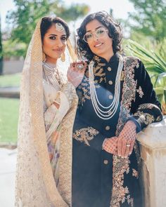 Indian-Pakistani lesbian couple get married in traditional bride-groom outfits Lesbian Wedding, Wedding Couples, Wedding Lingerie, Traditional Wedding, Traditional Outfits, Muslim Culture, Cute Lesbian Couples, Muslim Women, Wedding Looks