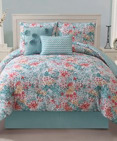 Turquoise Kayla Reversible Comforter Set by Victoria Classics #zulily #zulilyfinds