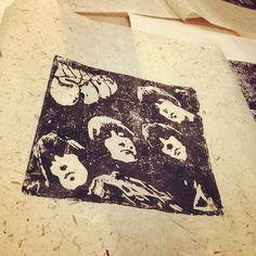 Woodcut print - Beatles - Rubber Soul - art