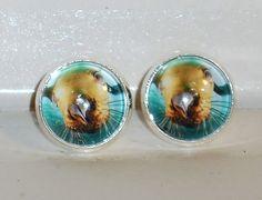 Damen Ohrschmuck Modeschmuck Ohrringe Glas handgefertigt Ohrstecker Robbe