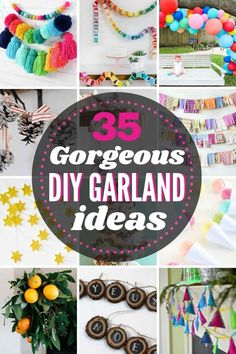35 GORGEOUS DIY Garland Ideas to use for Christmas, Birthdays Pinecone Garland, Diy Tassel Garland, Christmas Tree Garland, Felt Ball Garland, Pom Pom Garland, Garland Ideas, Balloon Garland, Christmas Diy, Holiday Crafts