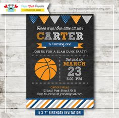 Basketball Chalkboard Birthday Party Invitation by PapaCrabPaperie