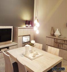 Comedor KAY. Ideal para espacios reducidos, con Panel TV giratorio 90º a derecha e izquierda.