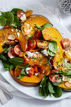 Healthy dinner recipes 379146862372784217 - Serve up this colourful salad as part of your Christmas spread to take your feast to all-new heights. Source by womensweeklyfood Vegetable Recipes, Vegetarian Recipes, Cooking Recipes, Healthy Recipes, Roast Vegetable Salad, Tomato Salad Recipes, Pumpkin Salad, Clean Eating, Healthy Eating