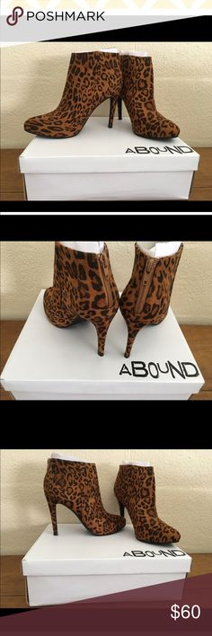 "!!Deal of the day!!  Leopard Print Rosie Bootie Funky Abound, Leopard Print Rosie Bootie Black-Tan.  Brand new in original box.  Retail $60. !! Price is firm !! The casual sophistication fun animal print, but super sexy booties that every girl needs to have in their wardrobe.   Sizing: True to size. M= medium width. Size: 9M  - Almond toe - Back zip closure - Approx. 7"" shaft height, 11"" opening circumference - Approx. 4"" heel  Materials: Textile upper, manmade sole #shies#animal print…"