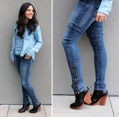 Turn bootcut jeans in skinny zipper jeans DIY - Check out my other pins as guest pinner for @FaveCrafts this month !#sew #fallfashion