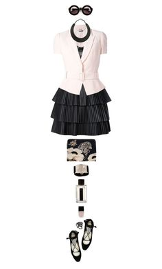 """Pink Blazer"" by ladomna ❤ liked on Polyvore featuring Alexander McQueen, Balmain, Jimmy Choo, Lizzie Fortunato Jewels, Wildfox, L'Artisan Parfumeur, Lisa Stewart, Mystic Light, MANGO and Witchery"