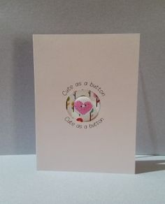 Baby card with a cute button. Custom Color paper and buttons are available.