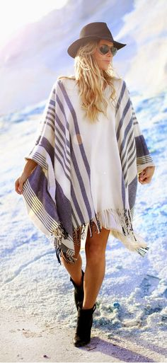 Daily New Fashion : White And Grey Fringe Striped Poncho by Happily Grey