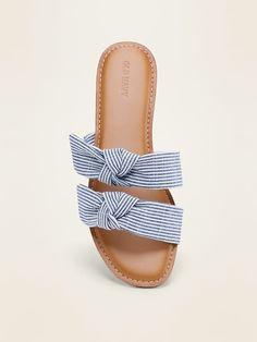 Shop Old Navy's Asymmetric Double-Bow Slide Sandals for Women: Soft woven textile upper, with double asymmetrical bow-tie straps., Flocked thermoplastic rubber outsole, with Slide Sandals, Flip Flop Sandals, Navy Sandals, Shoes Sandals, Flats, Pom Pom Slippers, Bow Slides, All About Shoes, Shop Old Navy