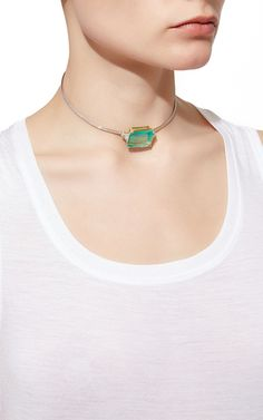 18 K White And Yellow Gold Emerald Choker by JACK VARTANIAN for Preorder on Moda Operandi